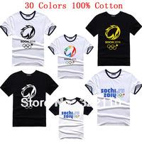 2014 New Summer Men's T shirt Sport Shirts Tops Tees 100% Cotton Tops Tees Russia Sochi Games` Rings Flourishing Snow