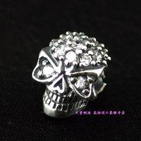 925 pure silver full rhinestone stereo skull silver pendants diy girls accessories
