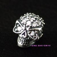 925 pure silver full rhinestone stereo skull silver pendants diy girls accessories