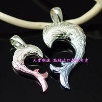 Vitreous multicolour 925 pure silver tang grass decorative pattern love puzzle lovers pendant