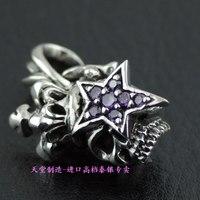 925 pure silver skull diamond silver pendants five star