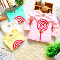 Baby spring 3 0 1 - - - 2 years old girls clothing basic shirt clothing clothes lollipop long-sleeve T-shirt wqe145