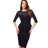 2014 Fashion star style sexy black slim gauze ruffle racerback half sleeve one-piece dress pencil skirt