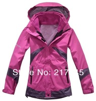 New 2014 Brand Outdoor Waterproof Climbing Clothes Jacket Winter Fashion Women's Sports Coat+Bladder+Hoodie Free Shipping S-XXXL