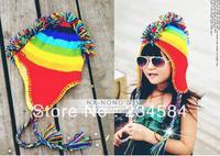 Children's wool hat knitted hat ear hat rainbow