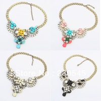 2014 New Fashion Women Luxury Statement Necklaces Trendy Vintage Alloy Bib Choker Necklace Korean Style High Quality Jewelry
