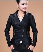 Spirng women leather coat 2014 leather jacket women Motorcycle Leather Jackets female autumn women coats black jackets ladies