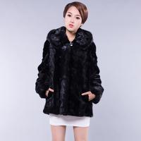 2013 mink casual fight mink fur coat with a hood wrist-length sleeve medium-long