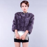 2013 mink full leather fur coat slim three quarter sleeve short design female