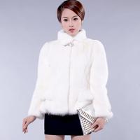 2013 mink fur coat slim full leather knife wrist-length design female short sleeve