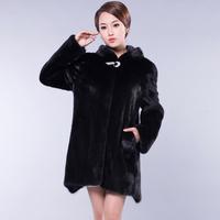 2013 mink full leather casual fur coat with a hood wrist-length sleeve female