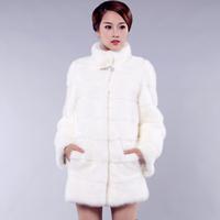 2013 mink full leather fur coat slim stand collar medium