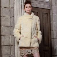 2013 fur coat slim stand collar wrist-length full leather sleeve