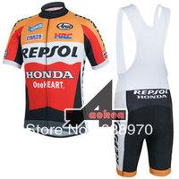 New cycling clothing set! 2014 HONDA team bike cycling jersey short sleeve and bicicletas bib shorts/ ropa ciclismo men DT#784