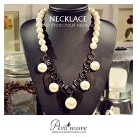 Ava more pearl lanyards metal gauze tassel pendant necklace short design chain