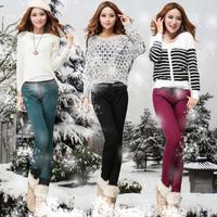 2014 women's multicolour plus velvet thickening skinny pencil pants female candy color jeans