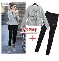 2013 winter women's casual fleece sweatshirt slim hip skorts sports casual set