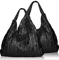 2013 genuine leather bag pleated sheepskin women's patchwork handbag the trend of black messenger bag large capacity