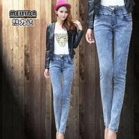 325 2014 women's pants breasted high elastic waist jeans skinny pants female