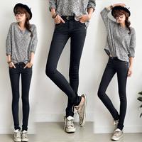 2014 trend mid waist jeans female pencil long trousers plus size black trousers bag