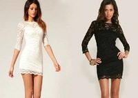 Free shipping New arrival 2014 lace  basic slim waist lace one-piece dress