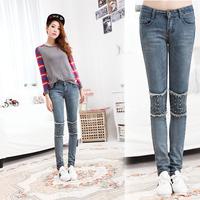 2014 knee rivet tight jeans skinny pants female