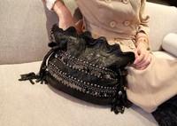 Genuine leather women's handbag suede patchwork bucket bag summer women's cross-body handbag paillette rivet skull punk bag