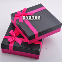 Free Shipping necklace jewelry set box ring necklace box carton jewelry holder packaging box Large red ribbon gift box