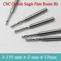 5pcs 3.175*2.0*12mm Carbide CNC Router Bit Single Flute End Mill