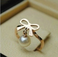 Bow card 14k titanium rose gold ring pinky ring female accessories