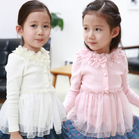 2014 Time-limited Freeshipping Regular Free Shipping!2014 Spring Lace Collar Girls Clothing Baby Child Long-sleeve Top Cardigan