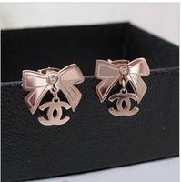 High quality bow small rose gold titanium 14k stud earring rose gold stud earring