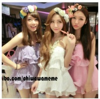 Sweet women's q ladies elegant pearl tube top baimuer sexy chiffon one-piece dress set twinset