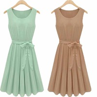 2014 spring and summer fashion woman  Retro Slim crimp simple solid color chiffon dress  Girls dress temperament