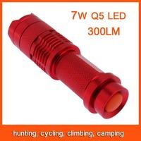 10pcs Mini LED Flashlight Torch Adjustable Focus Zoom 7W 300LM Light Lamp Red Free Shipping 82799