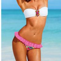 Fashion Secret Padded Swimsuit Women's Rhinestone Sexy Beach wear Bikini Swimwear bikini bottom