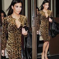 New Women Long Sleeve Fall Leopard Keyhole Celeb OL Office Party Clubwear Stretchy Evening Prom Bodycon Kee-Length Dress S-XXL