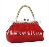 2014 new wave of Korean female bag bride bag patent leather handbag shoulder bag red packet