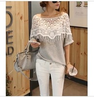 Free Shipping 2014 sweet lace cutout shirt women handmade crochet cape collar batwing sleeve blouse medium-long t shirt female