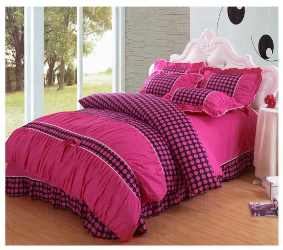 Cartoon Bedding Twin Full Queen 4PCS Cotton Bedclothes / Duvet Cover Set / Comforter Set / BedSheet princess comforter set(China (Mainland))