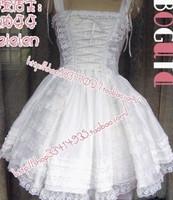 2014 fashion free shipping 100% cotton lolita dress 100% cotton tank dress white