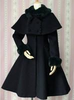 2014 fashion free shipping Lolita dress autumn and winter repair fur collar elegant cashmere overcoat cape