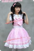 newest! free shippiong Umbrella lolita dress gentlewomen pink stripe patchwork short-sleeve ruffle laciness one-piece dress -
