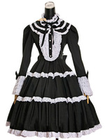 2014 fashion free shipping Sweets lolita lace long-sleeve dress black and white one-piece dress