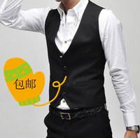 2014  Spring Korean Slim men's suits men's vest  waist Vintage London British style. casual wave of men