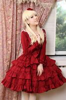 2014 fashion free shipping Vintage lolita alice claretred long-sleeve ruffle one-piece dress