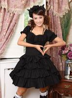 newest! free shippiong Lace vintage punk british style multi-layer ruffle halter-neck one-piece dress black  hot