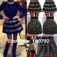 13 Style Spring Sexy New In 2014 Skirts Womens Studded Fluffy Rivet High Waist Elastic Bandage Ball Gown Plus Short Denim Skirt