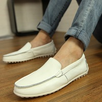 2014 spring gommini loafers genuine leather men's outdoor casual shoes foot shoes lazy wrapping white leather