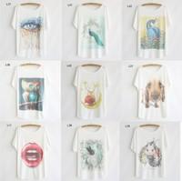 [Magic] 2014 hot t-shirt new 49 models batwing sleeve tshirts women plus size flowers/anima/cartoon printed tees free shipping